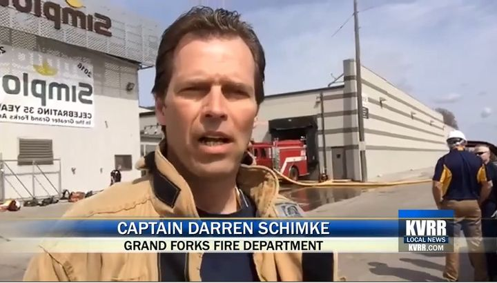 Capt. Darren Schimke gives the press a rundown on fire operations. - Screencapture via KVRR