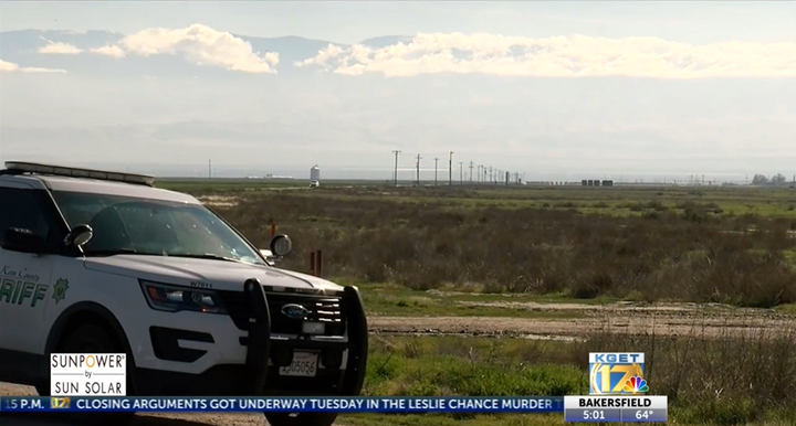 Emergency responders maintain an evacuation area about Taft Manufacturing in Taft, California. - Screencapture Via KCET