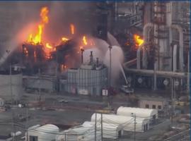 The Philadelphia Energy Solutions refinery ablaze following a June 2019 explosion.