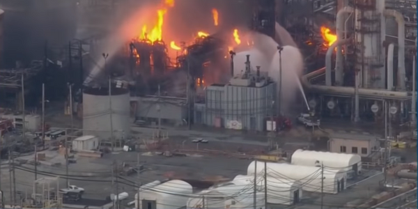The Philadelphia Energy Solutions refinery ablaze following a June 2019 explosion.
