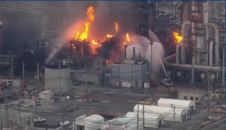 The Philadelphia Energy Solutions refinery ablaze following a June 2019 explosion. - Screencapture Via CNBC