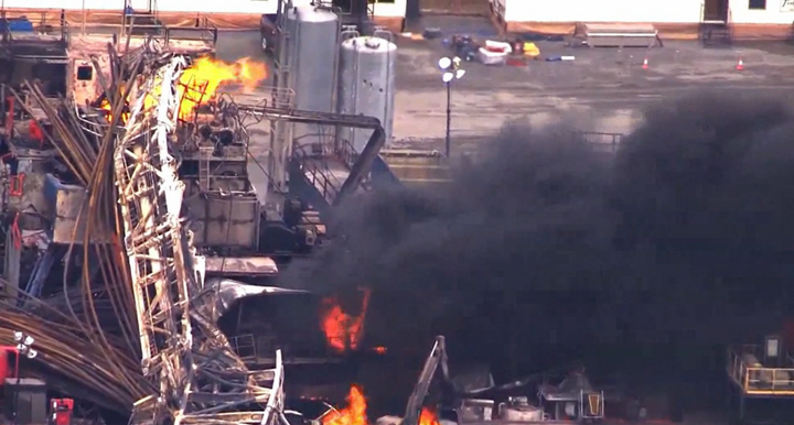 A 2018 drilling rig fire in Oklahoma killed five people and destroyed the rig. - Screencapture Via YouTube