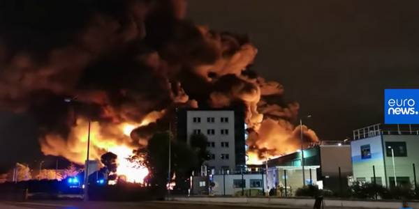 Flames tower above the Lubrizol plant in Rouen, France, during a Sept. 26, 2019, fire.
