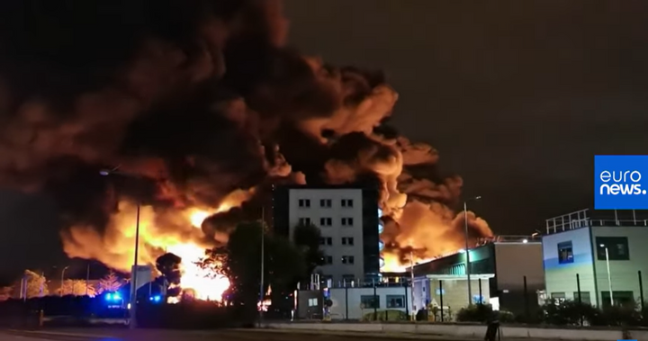 Flames tower above the Lubrizol plant in Rouen, France, during a Sept. 26, 2019, fire. - Screencapture Via YouTube
