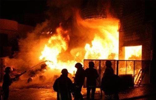 Firefighters battle paint factory blaze in Sadat City, Egypt. - Photo courtesy of Sadat City Civil Protection Police.