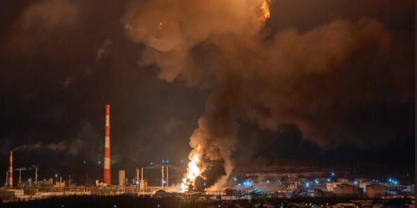 Fireball rises above a burning refinery unit in Ukhta, Russia.