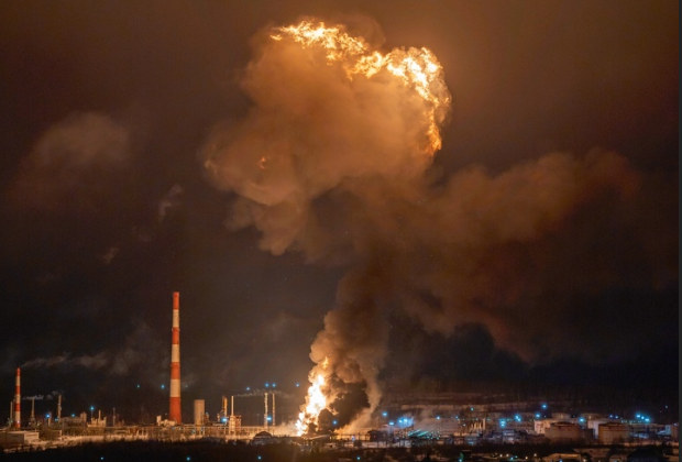 Fireball rises above a burning refinery unit in Ukhta, Russia. - Photo courtesy of Ukhta city government