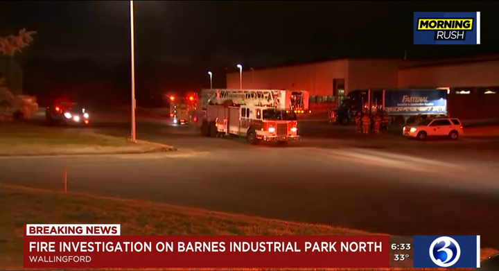 A flash fire at a Connecticut manufacturing plant injured one worker Monday night. - Screecapture Via WFSB
