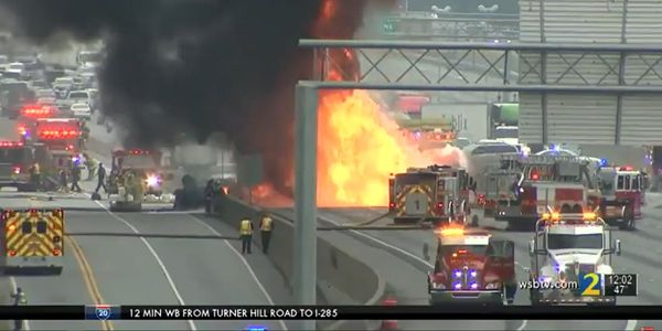 Burning tanker shuts down northbound traffic on Interstate 85 near Atlanta, Georgia, Saturday.