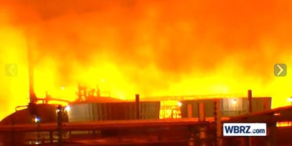 Flames spread through an oil refinery in Baton Rouge, Louisiana, on Feb. 11.