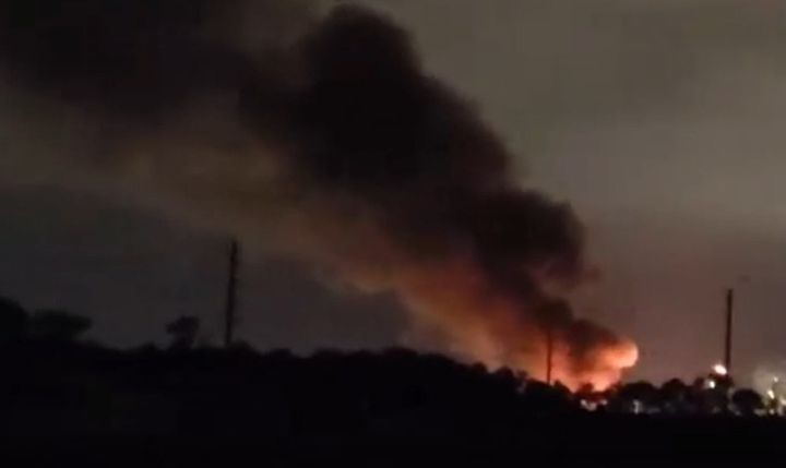 Flaring at a chemical plant in Baytown, Texas, was mistaken for a fire emergency. - Screencapture Via KHOU