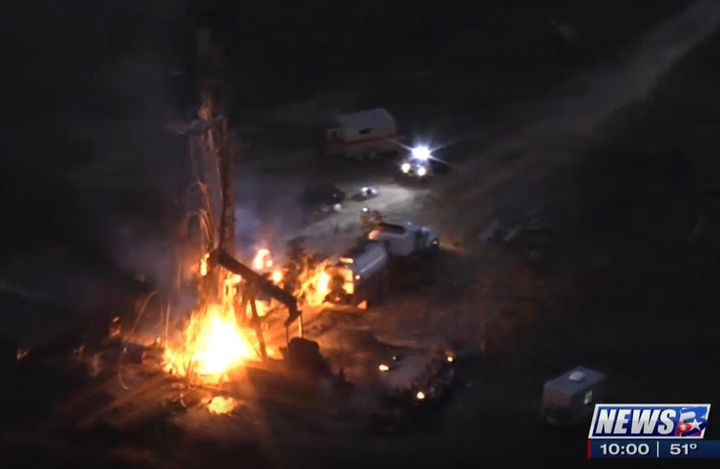 Aerial view of the burning oil well after a blowout Wednesday responsible for three deaths. - Screencapture Via KBTX
