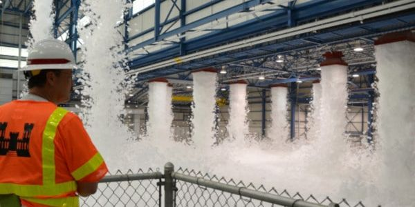 A foam deluge system activated inside an aircraft hangar.