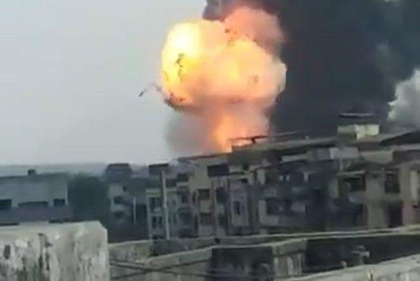 Fireball from burning chemical plant rises against the Dombivli skyline. - Screencapture Via Twitter