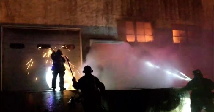 Hackensack New Jersey firefighters doused growing flames at a cosmetics factory. - Courtesy of the Hackensack Fire Department