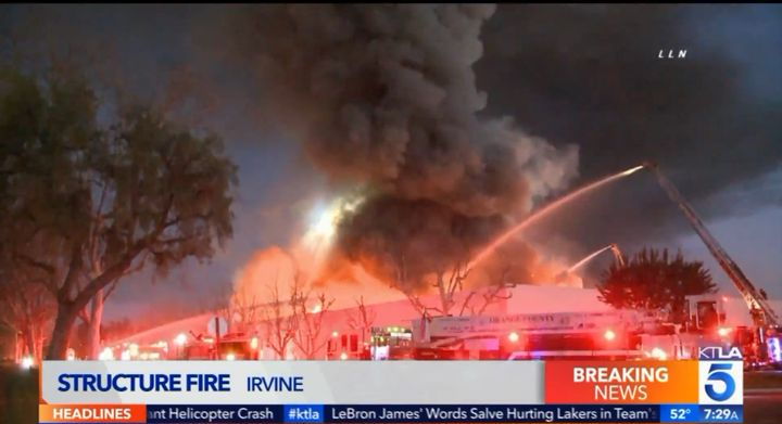Large commercial building in Irvine, California, destroyed by fire Sunday. - Screencapture Via KTLA