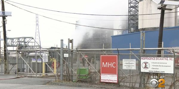 A titanium turbine caught fire Tuesday at a power plant being disassembled in New Jersey.