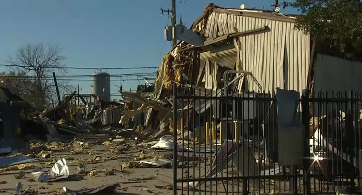Severe damage is the aftermath of a Jan. 24 explosion at Watson Grinding in Houston. - Screencapture Via KHOU