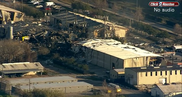Highly flammable propylene leaking from a storage tank is throught to be the cause of a Jan. 24 factory explosion in Houston. - Screencapture Via KPRC