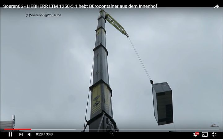 A Liebherr LTM 1250, the same model that collapsed at Espoo, Finland. - Screencapture Via YouTube