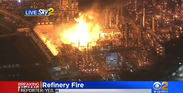 Flames gut the heart of the Marathon Petroleum refinery in Carson, California, Tuesday night. - Screencapture Via KCBS