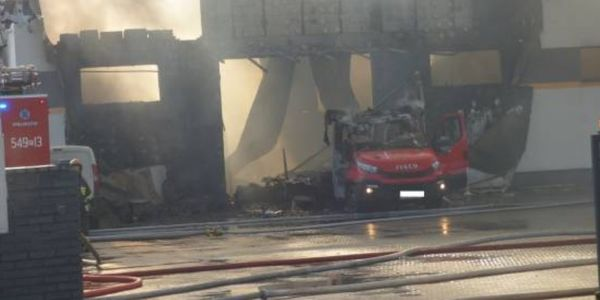 Flames gutted the production hall at a textile factory in Poland Saturday.