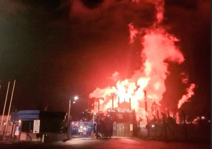 Flaring at ExxonMobil Fife Ethylene Plant Thursday as seen from the plant's front gate. - Courtesy of Darren Watt