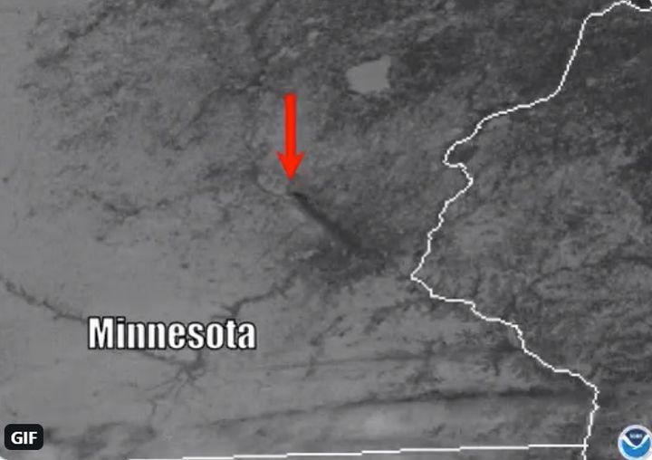 Satellite photo shows spread of smoke southeast from burning recycling yard in Becker, Minnesota. - Courtesy of NOAA