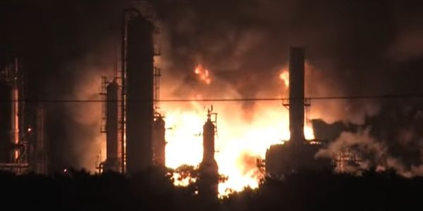 The fiery aftermath of a June 2019 explosion at the Philadelphia Energy Solutions refinery.
