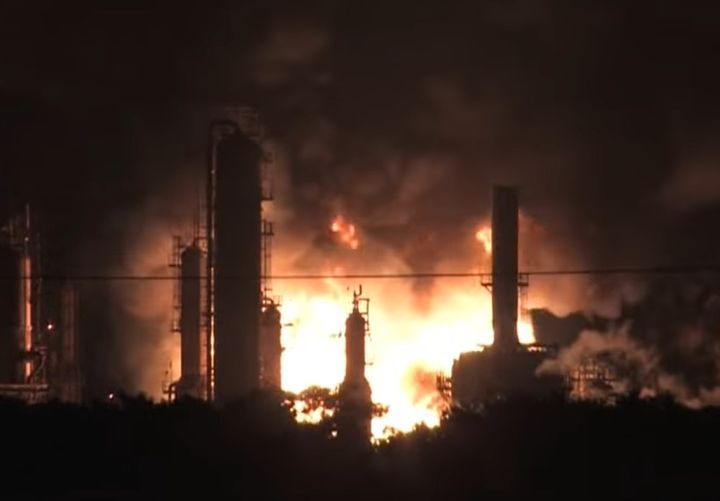The fiery aftermath of a June 2019 explosion at the Philadelphia Energy Solutions refinery. - Screencapture Via YouTube
