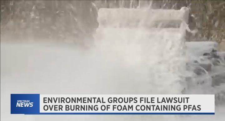 Environmentalists challenge Department of Defense plan to dispose of fluorinated firefighting foams. - Screencapture from Spectrum News