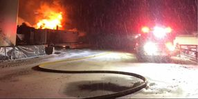 Colorado Firefighters Battle Well Site Fire in Frigid Conditions