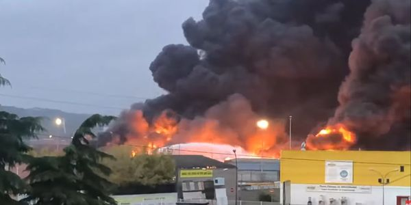 Flames spread though the Lubrizol refinery in Rouen, France, in September 2019.