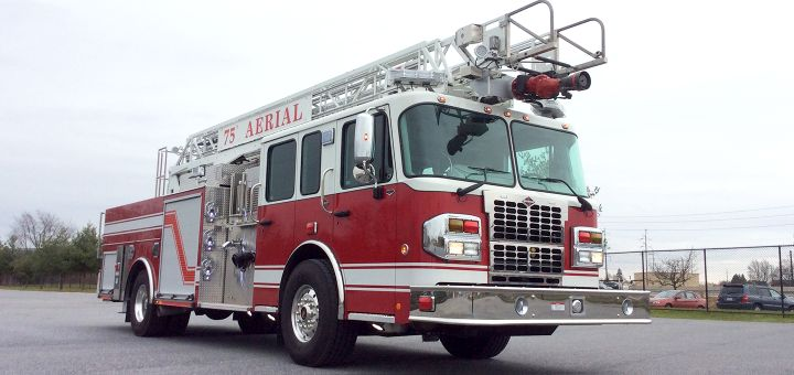 Spartan's 75-foot rear-mount aerial truck - Photo courtesy of Spartan Motors.