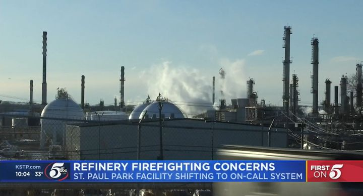 Marathon refinery in St. Paul Park, Minnesota, is one of only two refineries in the state. - Screencapture from KSTP