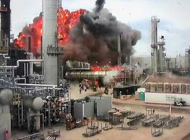 Surveilance video captures the initial cat cracker explosion in 2018 that damaged the Husky Refinery in Wisconsin.