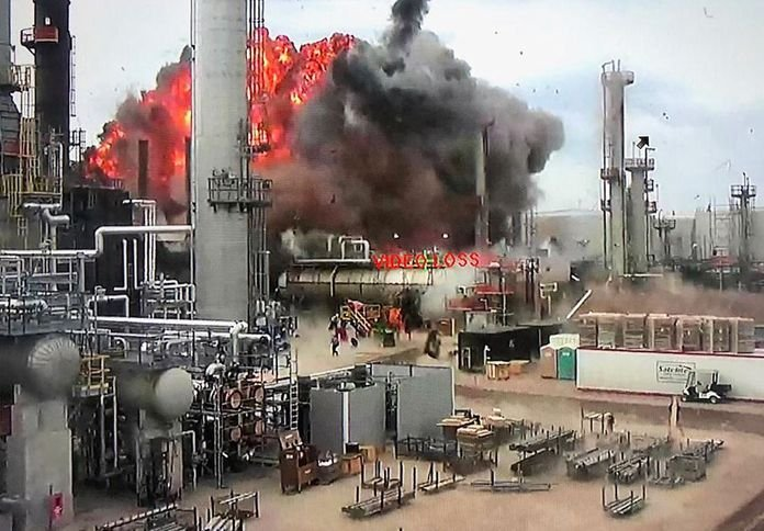 Surveilance video captures the initial cat cracker explosion in 2018 that damaged the Husky Refinery in Wisconsin. - Courtesy of Superior Fire Department