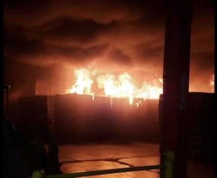 Scene inside a burning warehouse at an insulation plant in Winchester, Virginia. - Screencapture Via Facebook