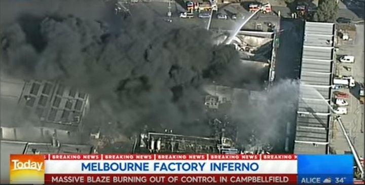 A chemical storage company in Campbellfield, Australia, was hit by a massive fire in April 2019. - Screencapture Via Nine News Australia