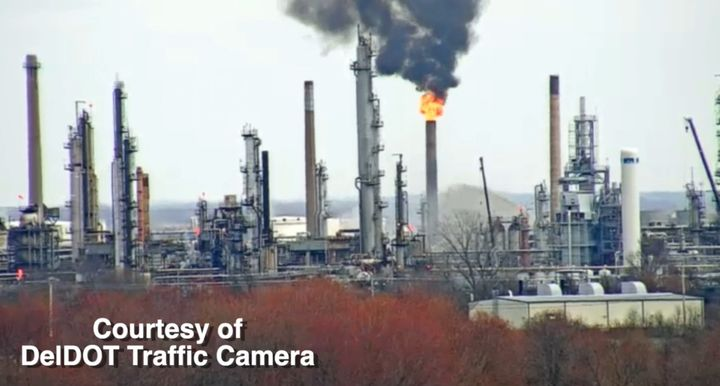 Flames at Delaware City refinery captured by nearby traffic camera. - Courtesy of DelDOT