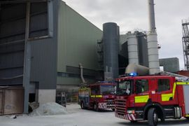 UK Firefighters Extinguish Glass Factory Vent Fire