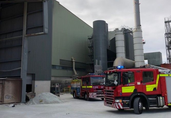 Firefighters arrive at glass plant fire in Elton, England Sunday. - Photo courtesy of Cheshire Fire & Rescue Service