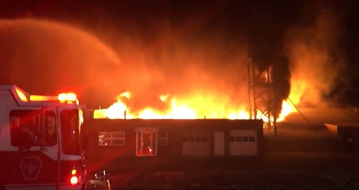 A 2016 fire at Yankee Casting in Enfield, Connecticut fed by magnesium. - Screencapture Via Twitter
