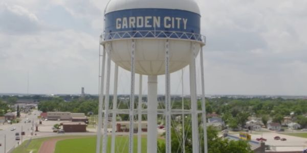 Water tower in Garden City, Kansas.