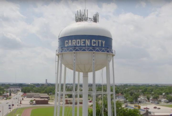 Water tower in Garden City, Kansas. - Screencapture Via YouTube