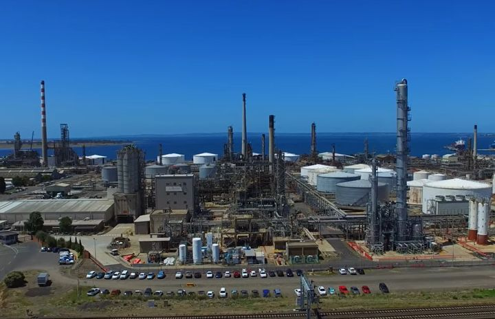 Viva Energy's Geelong refinery located in southeast Australia. - Screencapture Via YouTube