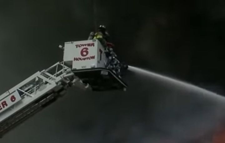 Houston firefighters hard at work. - Screencapture Via YouTube
