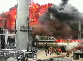 Surveillance video captures the explosion that triggered the April 2018 fire at the Husky Energy refinery in Superior, Wisconsin.