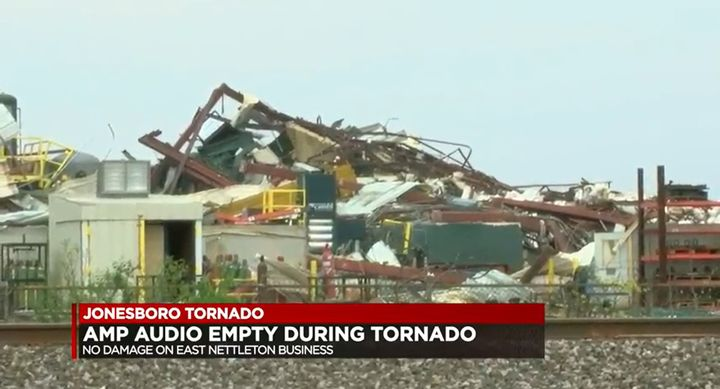 Wreckage of the Camfil Air Pollution Control factory after being hit by a tornado Saturday. - Screencapture Via KJNB