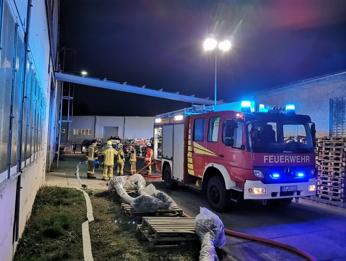 Firefighters assess the fire scene after a blaze at a German textile factory Thursday. - Photo Courtesy of Kirschau-Rodewitz Fire Brigade